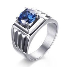 Acessórios de moda zircão azul anel de aço inoxidável masculino glamour jóias noivado anel de casamento presente de natal