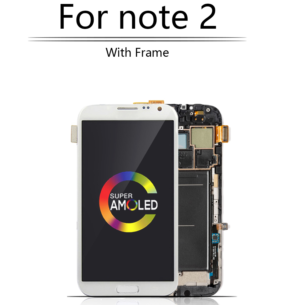 Original Super AMOLED For SAMSUNG Galaxy Note 2 N7100 LCD Display Touch Screen with Frame Digitizer Note 2 Display N7105 i317 image