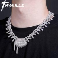 TOPGRILLZ 2020 New 22mm Cuban Chain Micro Pave Necklace With Lips Pendant High Quality Iced Out Cubic Zirconia Hip Hop Jewelry