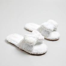2019 New Casual Rosette Slipper Flip Flop Sandal Womens Slippers Ladies Slip On Sliders Fluffy Faux Fur Flat Size 36-39 faux pearl espadrille flatform sliders