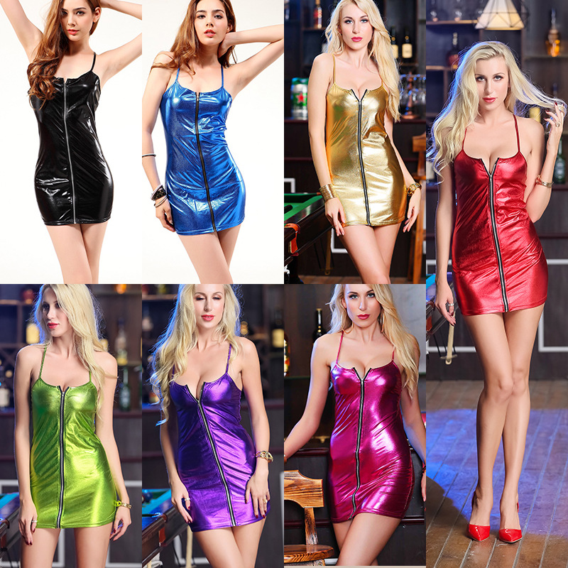 Plus Size <font><b>4XL</b></font> Shiny PU Faux Leather Spaghetti Strap <font><b>Sexy</b></font> Mini <font><b>Dress</b></font> Women <font><b>Sexy</b></font> Stripper Pole Dance Night Party <font><b>Club</b></font> Wear <font><b>Dress</b></font> image