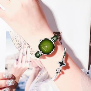 Image 5 - دوم علوي فاخر موضة أنثى كوارتز ساعة معصم أنيق أخضر نساء ساعة جلد مقاوم للماء ساعة فتاة نمط ساعة G 1292