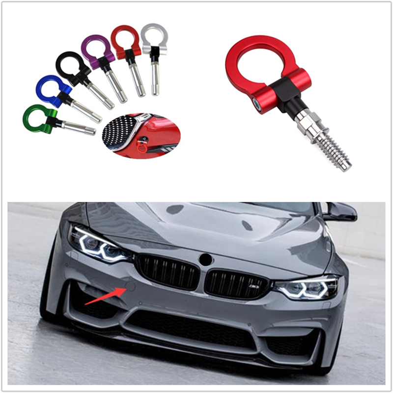 1pcs Universal Car Tow Hook Fits For BMW For Mercedes-Benz For Audi European Car Auto Trailer Ring Tow Hook Eye Towing Colorful