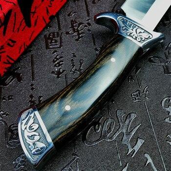 PEGASI  U.S.A(DEHONG )SA48 hunting straight blade rescue knife camping straight blade Mirror light  tactical knife 4
