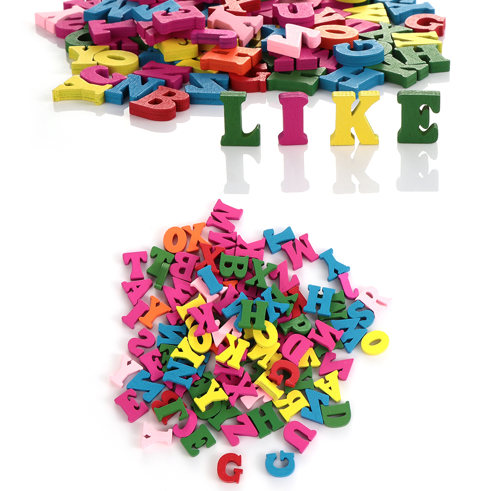 100Pcs 15mm DIY Alphabet Numbers Home Party Christmas Decoration Wooden Mixed Multi-color Word Letters Block Handmade Craft Gift