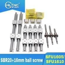 2020 promocja 3 osi 4 osi 16mm śruba pociągowa SFU1605/SFU1610 + BK/BF12 + 3 zestawy SBR16 prowadnice liniowe dla frezarka pionowa CNC