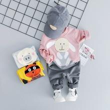 купить 2019 Spring Autumn Baby Girl Boy Clothing Sets Infant Clothes Suits Pig Rabbit Plush T Shirt Pants Casual Children Kids Costume по цене 711.23 рублей