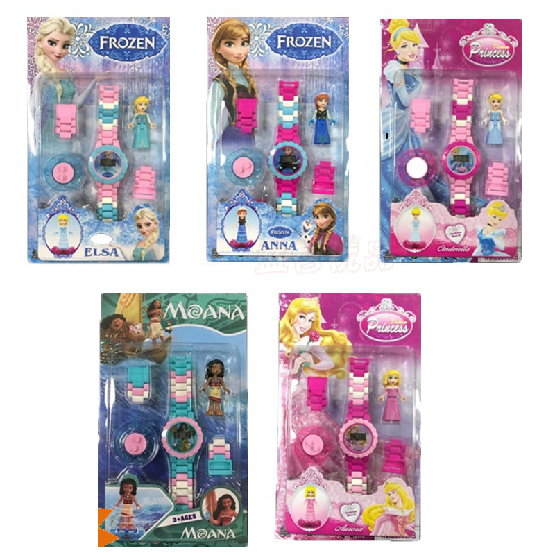 15 Styles Disney Princess Anna& Elsa Super Hero Children Watch Building Block Funny Toys For Children Compatible LegoING Bricks