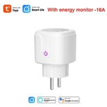 Tuya vida inteligente ue 16a wifi tomada inteligente controle remoto com monitoramento de energia consumo de energia trabalho com alexa e google casa