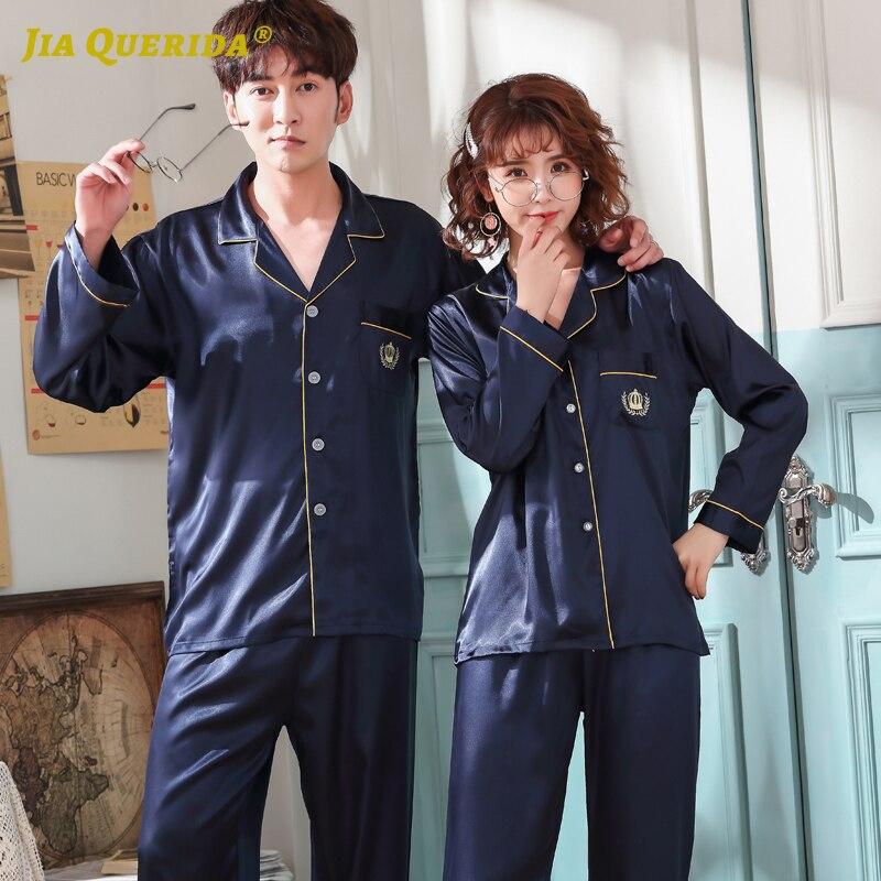 Couple Homesuit Homeclothes Fashion Style Casual Style Sleepwear Pajamas Set Imitated Silk Satin Pajamas Sleepwear Pijama Set