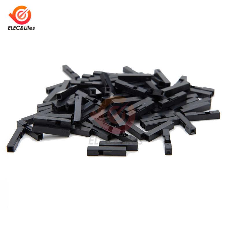 100 Pcs/lot 1/2 broches 2.54mm pas Dupont cavalier fil câble noir boîtier en plastique femelle broche connecteur boîtier coque bricolage boîte 1P/2P