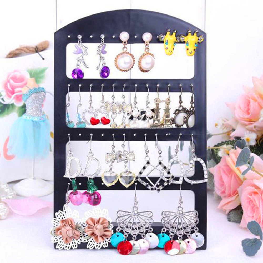 48 Holes Jewelry Organizer Stand Black Plastic Earring Holder  Earrings Display Rack Jewelry Display Stand Holder 2020 New