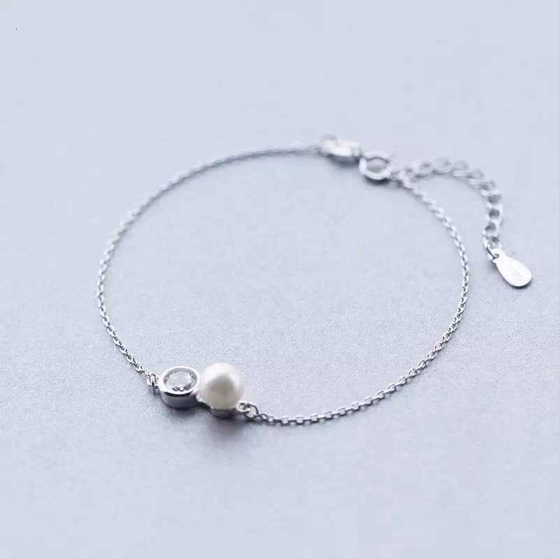 925 1 шт. браслет-цепочка из чистого серебра с культивированным пресноводным круглым жемчугом и фианитами белый счастливый Роло тонкий регулируемый LS209