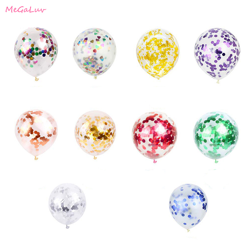 5 pcs Confetti Latex Balloons 4 Colours Birthday Wedding Party Baby Shower Decor