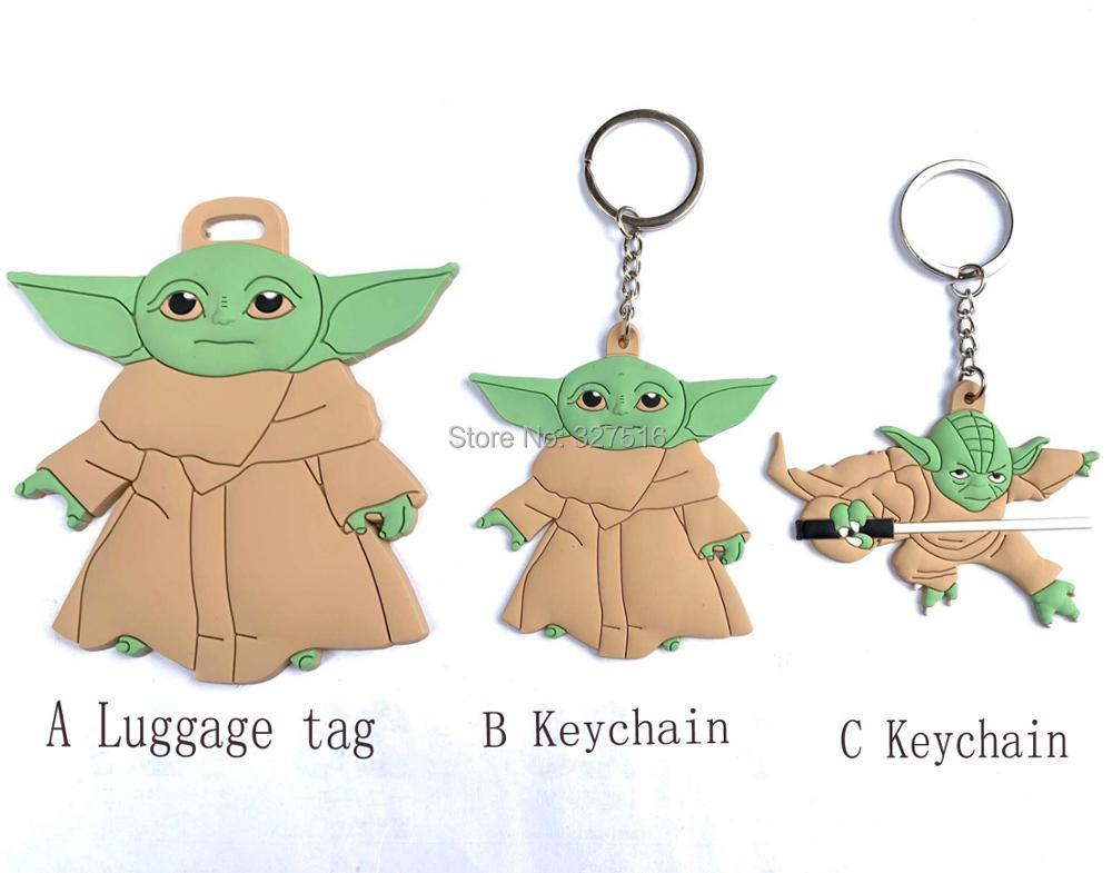 10pcs/lot Baby Yoda PVC Figure Toys Wisdom Master Yoda Figure Double-sided PVC Keychain Pendant Toy 8cm Free Shipping