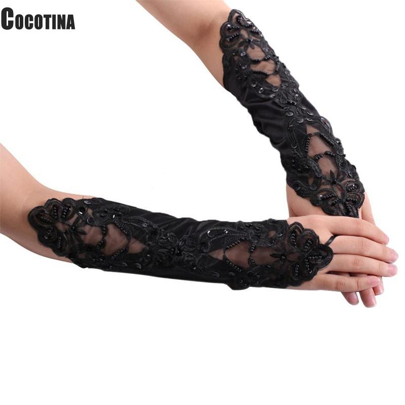 Polyester Sexy Black Lace Gloves Women Wedding Long Gloves Weddings Glove Elbow Length Bridal Accessories