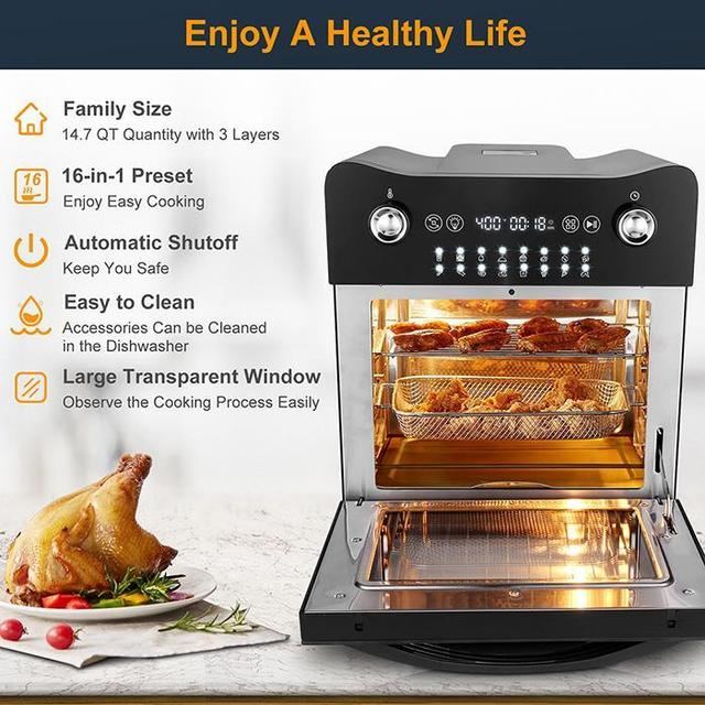 14.7QT Electric Toaster Oven 1800W Electric LED Touch Screen 16-in-1 Smart  Air Fryer 4
