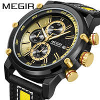 Reloj militar de moda MEGIR para hombre, reloj deportivo multifunción, cronógrafo, calendario de cuero, reloj de pulsera impermeable para hombre