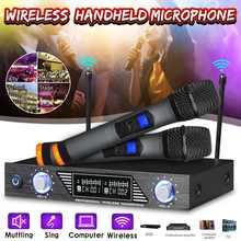 Профессиональный Беспроводной 2 канала двойной беспроводной ручной микрофон Микрофон Системы для студийного караоке музыкальных плееров
