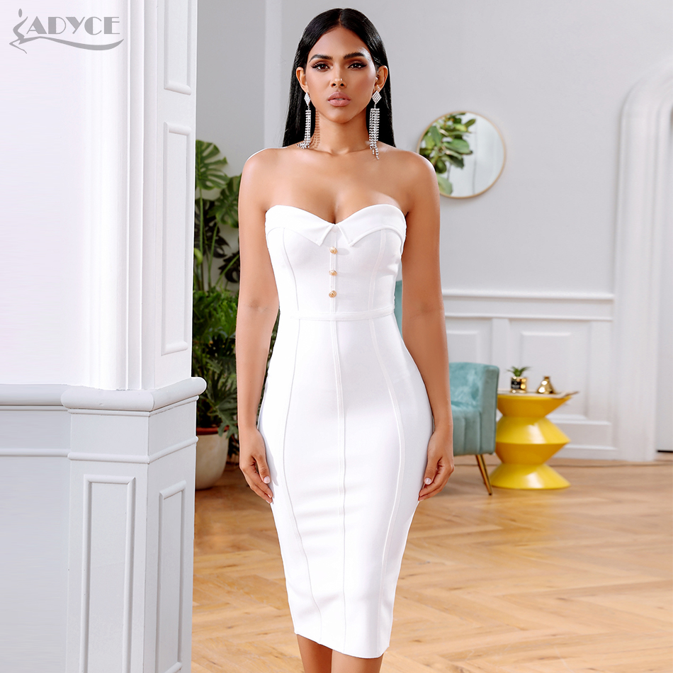 Adyce Summer White Bandage Dress Women Vestidos 2019 Sexy Sleeveless Strapless Club Dress Celebrity Evening Runway Party Dress