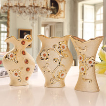 Europejski ceramiczny mały wazon ozdoby pozłacane dom zamieszkania salon dekoracji minimalistyczny kwiat