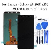AMOLED LCD لسامسونج غالاكسي A7 2018 A750 A750F SM A750F A750FN A750G LCD عرض تعمل باللمس محول الأرقام الجمعية استبدال