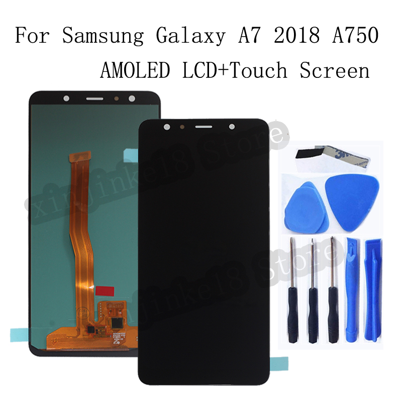 AMOLED <font><b>LCD</b></font> For <font><b>Samsung</b></font> <font><b>Galaxy</b></font> <font><b>A7</b></font> 2018 A750 A750F SM-A750F A750FN A750G <font><b>LCD</b></font> Display Touch <font><b>Screen</b></font> Digitizer Assembly replacement image