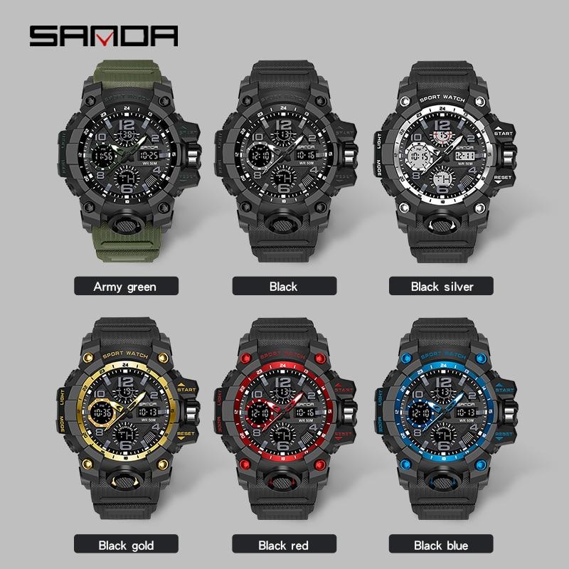 Montre homme SANDA marque montre-bracelet de luxe double temps chronomètre Sport militaire montres mode hommes montres horloge antichoc 3