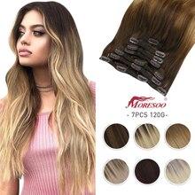 Moresoo заколка для волос в машине, Remy, бразильская модель, двойной уток, натуральный Прямой зажим для наращивания человеческих волос