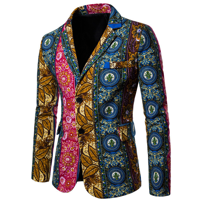 Western Style Large Size Men Printed Suit Coat Korean-style Casual Tops Spring And Autumn Two-Button