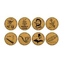 Креативные тематические коврики для сигар и трубок, подставки для напитков из натуральной пробки, круглые подставки для кружек, винограда, ...