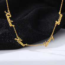 Custom 1-6 Multiple Names Necklace Personalized Stainless Steel Family Numbers Nameplate Pendant Jewelry Mom Dad Gifts