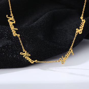 Custom 1-6 Multiple Names Necklace Personalized Stainless Steel Family Numbers Nameplate Pendant Necklace Jewelry Mom Dad Gifts stainless steel cremation jewelry angel wings pendant memorial urn necklace