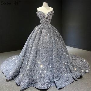 Image 1 - אפור כסף נצנצים שמלות כלה 2020 דובאי Sleeveess סקסית יוקרה כלה שמלות Serene היל HM66742 תפור לפי מידה