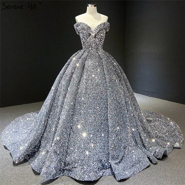 אפור כסף נצנצים שמלות כלה 2020 דובאי Sleeveess סקסית יוקרה כלה שמלות Serene היל HM66742 תפור לפי מידה