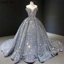 Grey Silver Sequined Wedding Dresses 2020 Dubai Sleeveess Sexy Luxury Bridal Gowns Serene Hill HM66742 Custom Made