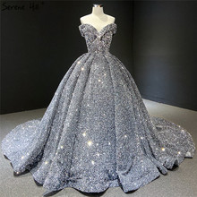 Wedding-Dresses Bridal-Gowns Sequined Serene Hill Dubai Grey Custom-Made Silver Luxury