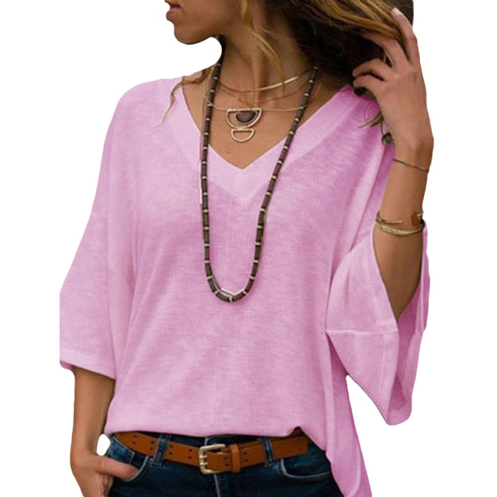 Fashion Women Solid Color V Neck 3/4 Sleeve Causal Loose Blouse T-shirt Knitwear
