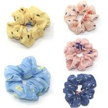 Hair Accessories Elastic Floral Scrunchies Flower Chiffon Ring Fashion Sports Dance Scrunchie Ties Headband Decorations