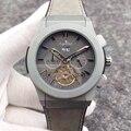 Luxus Marke Neue Männer Sport Uhren Titan Grau Schwarz Blau Braun Leder Gummi Tourbillon Transparent Kalender Uhr AAA +