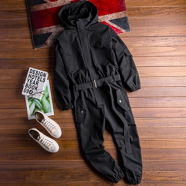 Autumn New Men's Loose Bib Overalls Hip Hop Jumpsuits With Hooded Jacket Belt Male Workwear Bib Coveralls Suspender Pants 3