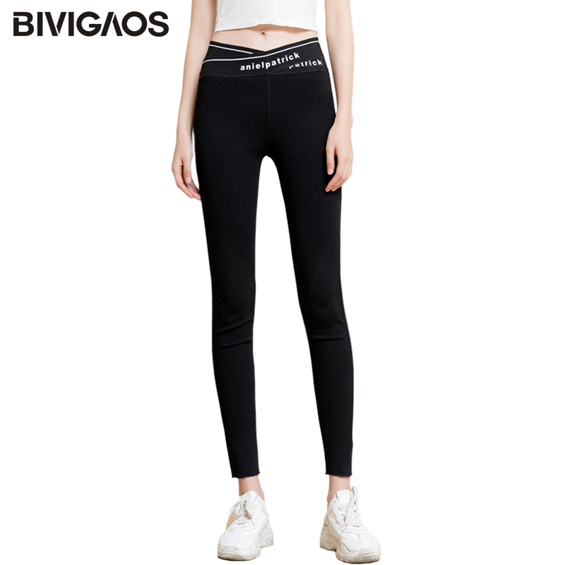 BIVIGAOS 2019 Autumn Women's New High Waist Cross Letters Black Pants Slim Skinny Pencil Pants Korean Stretch Leggings Trousers