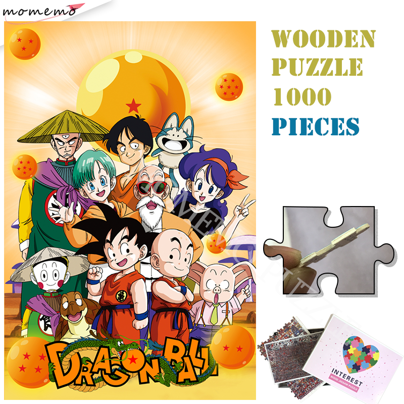 Dragon Ball Wooden Puzzles Toys Classcal Cartoon Anime 1000 Pieces Wooden Jigsaw Puzzle Customized Adults Kids Puzzles Toys Game