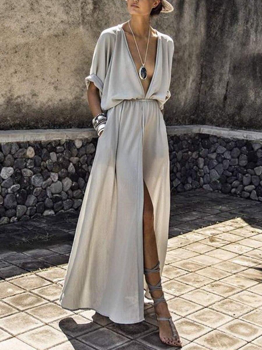 Zoctuo 2020 Весна платье сплошной сексуальный макси платье глубокий V длинные летние платья для женщин разрез половина рукав платья для женщин