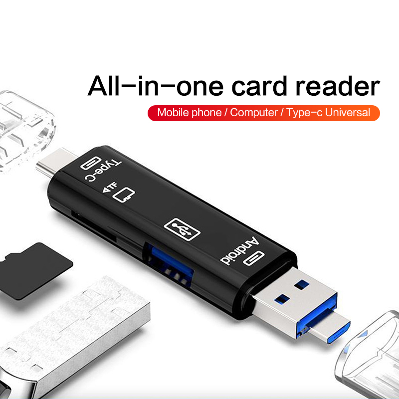 Newly 5 In 1 Multifunction Usb 3.0 Type C/Usb /Micro Usb/Tf Memory Card Reader OTG Card Reader Adapter Support Dropshipping