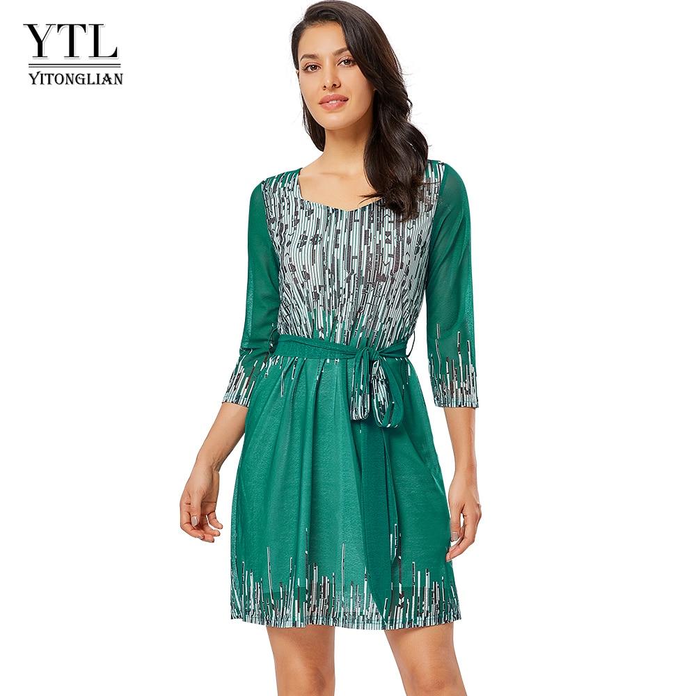 YTL женское Платье с рукавом 3/4, с принтом, элегантная сетчатая ткань с поясом, квадратный воротник, платья для свадьбы, Prairie, шикарное Платье женшиh300