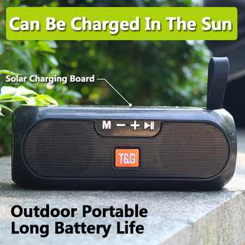2020 Solar Outdoor Bluetooth Speaker Portable With FM Radio TWS 5.0 Wireless Column Music Box Boombox MP3 TF USB AUX Loudspeaker mp3 music player box metal boombox loudspeaker portable bluetooth speaker usb charging wireless boombox indoor 800mah battery