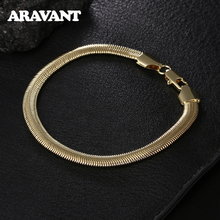 6MM Flat Gold Snake Chain Silver 925 Men Bracelet Fashion Jewelry Gifts