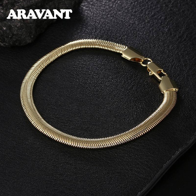 6MM Flat Gold Snake Chain Silver 925 Men Bracelet Fashion Jewelry Gifts