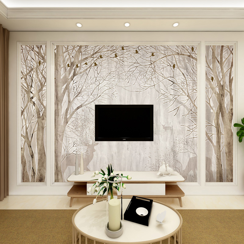 Northern European-Style Elk Natural Forest Customize The Murals Bedroom Living Room Television Background Wall 3D Seamless Wallp
